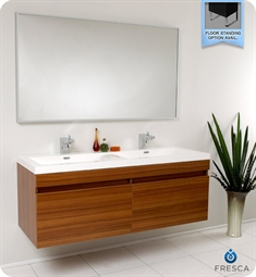 Fresca Largo Teak Modern Bathroom Vanity with Wavy Double Sinks