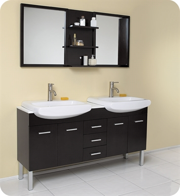 "Fresca FVN6193ES Vetta 59"" Espresso Modern Double Sink Bathroom Vanity with Mirror"