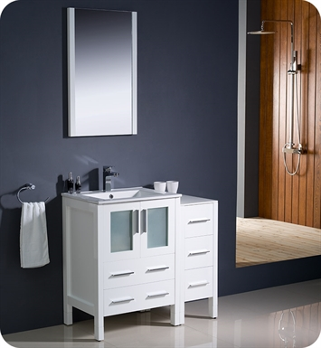 "Fresca Torino 36"" White Modern Bathroom Vanity with Side Cabinet and Integrated Sink"