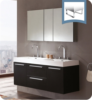 Fresca FVNBW Opulento  Black Modern Double Sink Bathroom Vanity - 54 vanity double sink