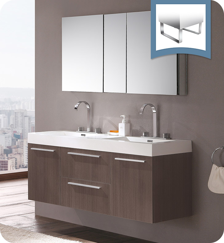 Fresca FVN8013GO Opulento 54 Gray Oak Modern Double Sink Bathroom Vanit