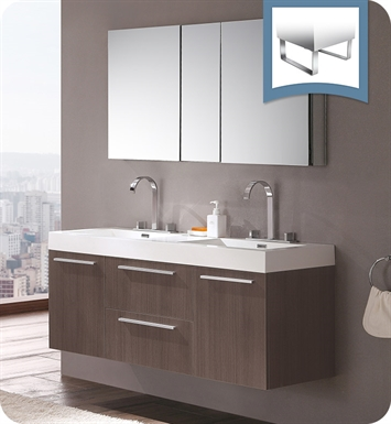 Fresca FVN8013GO Opulento Double Sink Modern Bathroom Vanity with Medicine Cabinet in Gray Oak