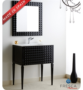 "Fresca Platinum FPVN7730BL Diamond 31"" Black Gloss Modern Bathroom Vanity"