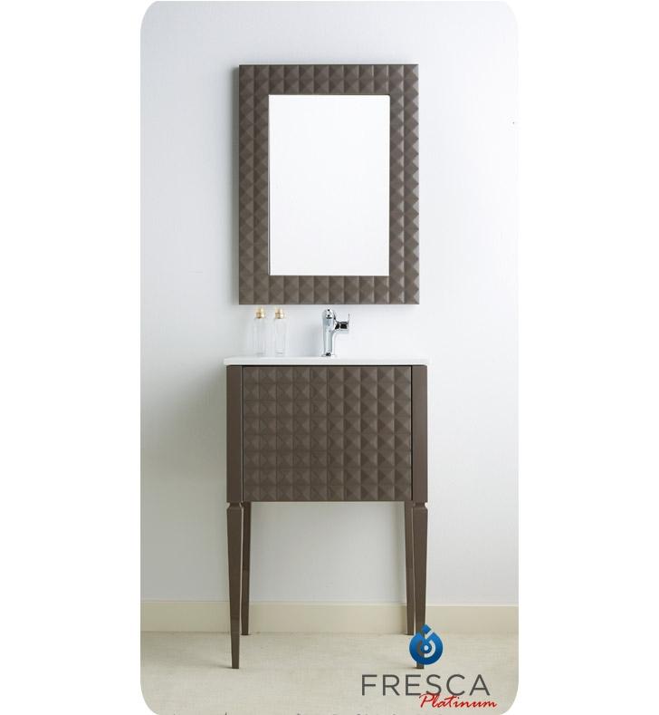 Fresca Platinum Fpvn7724tg Diamond 24 Taupe Gloss Modern Bathroom Vanity