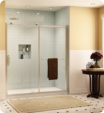 "Fleurco FRM2-448-25-40 Forte Roma In Line Shower Door and Panel With Dimensions: Width: 46"" to 47""  Approx. entry: 18"" And Hardware Finish: Brushed Nickel And Glass Type: Clear Glass"