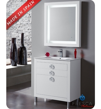 "Fresca Platinum Due 32"" Glossy White Modern Bathroom Vanity"
