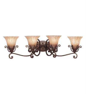 Kichler 5058CZ Cottage Grove Collection Bath 4 Light in Carre Bronze