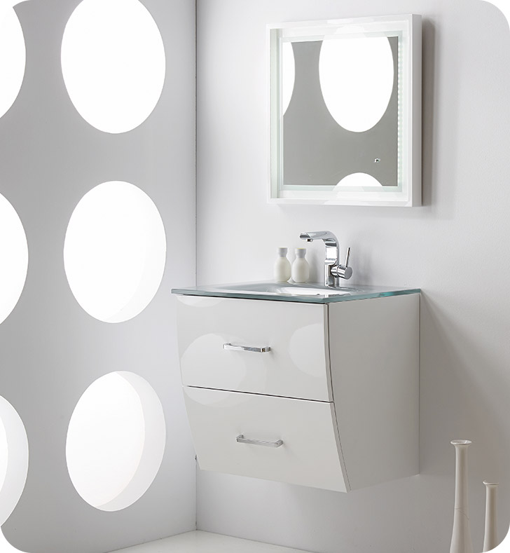 "24 White Bathroom Vanity fresca platinum fpvn7624wh wave 24"" white gloss wall-mount modern"