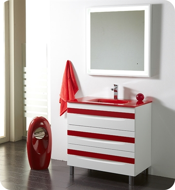 "Fresca Platinum FPVN7564-WH-RD-RD Giocco 32"" Glossy White/Red Modern Bathroom Vanity"