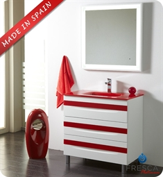 "Fresca Platinum Giocco 32"" Glossy White/Red Modern Bathroom Vanity"