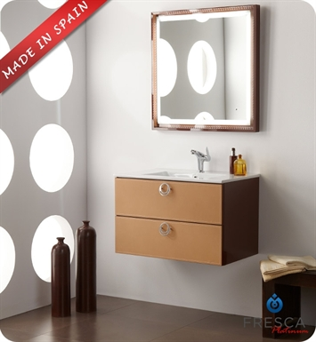 "Fresca Platinum FPVN7544CL Leder 32"" Glossy Chocolate Modern Bathroom Vanity with Camel Leather"