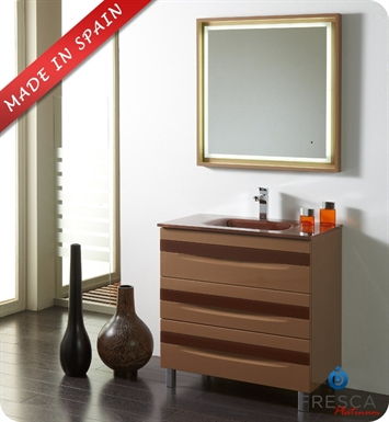 "Fresca Platinum FPVN7564CP-CL Giocco 32"" Cappuccino/Chocolate Modern Bathroom Vanity"