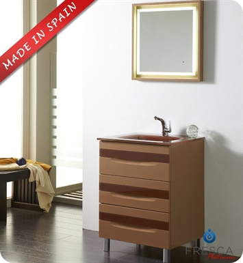 "Fresca Platinum FPVN7562CP-CL Giocco 24"" Cappuccino/Chocolate Modern Bathroom Vanity"