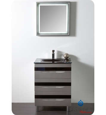Fresca Platinum Fpvn7562sl Bl Giocco 24 Glossy Silver Black Modern Bathroom Vanity