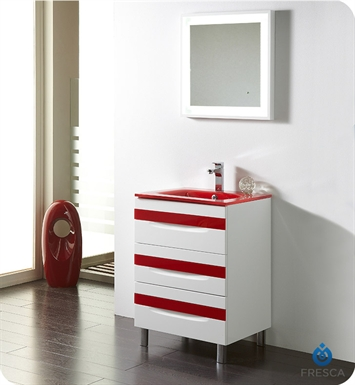 "Fresca Platinum FPVN7562-WH-RD-RD Giocco 24"" Glossy White/Red Modern Bathroom Vanity"