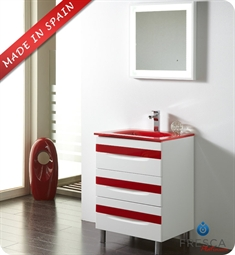 "Fresca Platinum FPVN7562WH-RD Giocco 24"" Glossy White/Red Modern Bathroom Vanity"