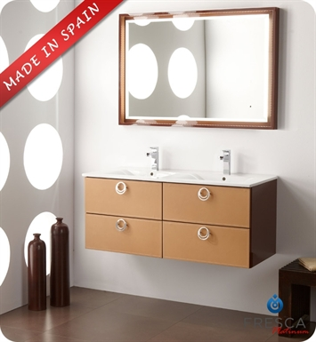"Fresca Platinum FPVN7548CL Leder 47"" Glossy Chocolate Modern Double Sink Bathroom Vanity with Camel Leather"